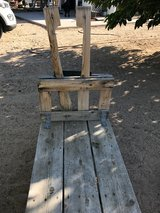 Wooden Goat Milking Stanchion with treat bin in Yucca Valley, California