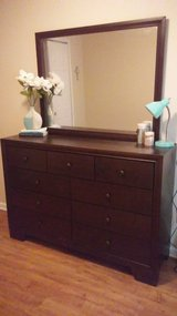Mocha 9 drawer dresser with mirror in Fort Benning, Georgia