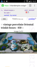 Vintage Oriental trinkit boxes in origonal case in Riverside, California