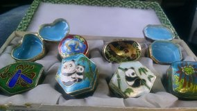 Set of 8 Vintage porcelain oriental pill/trinkit boxes in Riverside, California