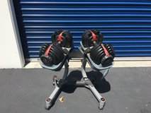 Bow Flex adjustable dumbbells with stand in San Clemente, California