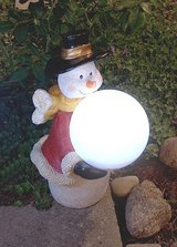 Outdoor Snowman with Solar Powered Gazing Ball in Ramstein, Germany