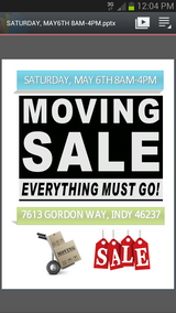 MOVING SALE - MAY 6TH in Indianapolis, Indiana