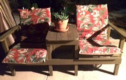 2 seater wood bench with cushions in Kingwood, Texas