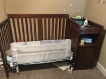 Convertible Crib w/attached changing table + mattress in Byron, Georgia