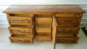 All solid wood dresser with 9 drawers in Fort Bliss, Texas