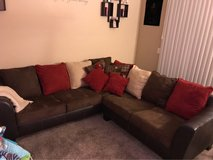 beige, brown and red sectional with throw blanket in San Diego, California