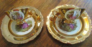 Bavaria Gold Trim Tea Cups w/ Saucers (2) in Ramstein, Germany