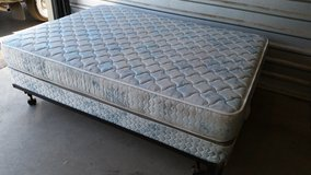 Full size mattress with box spring and metal frame in Fort Bliss, Texas