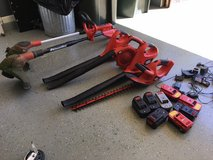 6 Black and Decker Corless Yard Tools, blower, trimmers, batteries, etc in Naperville, Illinois