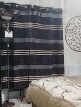DARK BROWN & BEIGE STRIPED LINED CURTAIN PANELS x2 in Lakenheath, UK