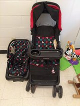 Mickey Mouse stroller and car seat set gently used in Fort Campbell, Kentucky