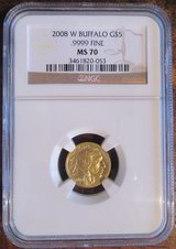 Uncirculated Gold Buffalo 2008-W 1/10 oz. MS-70 NGC in Ramstein, Germany