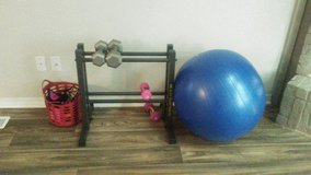 Exercise ball & weights & weight stand in Altus, Oklahoma