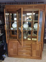 BASSETT LIGHTED GLASS CHINA CABINET OAK 3 DOOR in Lawton, Oklahoma