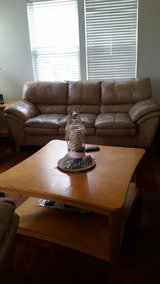 Beige / Tan Real Leather Couches Sofa, Love and Rocker / Lazy Boy (3 tables and 2 lamps optional... in Naperville, Illinois