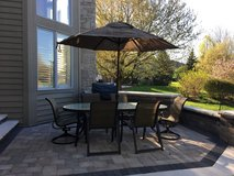 Patio Set with 6 Chairs, Table, Umbrella and base in Naperville, Illinois