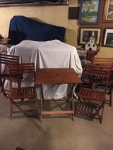 redwood folding table & 4 folding chairs in Lockport, Illinois