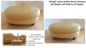 Oval leather bench-ottoman in San Diego, California