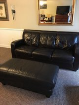 Leather couch & ottoman in Camp Lejeune, North Carolina