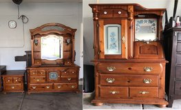 3 pieces hardwood dresser with mirror, chest and night stand for sale in Lockport, Illinois