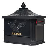 Gibraltar Mailboxes Hamilton Black Locking Aluminum Large Post-Mount Mailbox in Naperville, Illinois