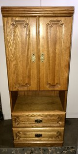 Tall Oak Dresser Lighted Cabinet W/ Vanity Top EUC in Travis AFB, California