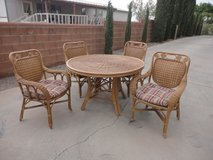 Bamboo /Rattan Patio Set with 4 cushion chairs in Alamogordo, New Mexico