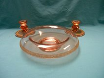 Candlestick and bowl set - Peach colored glass in Palatine, Illinois