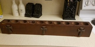 Solid Wood Tea Light Holder Cross Rustic Cabin Farm Barn Candle (Holds 10 candles) in Kingwood, Texas