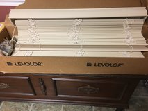 Two Levolor faux wood mini blinds in Aurora, Illinois