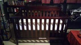 3 IN 1 WOODEN CRIB WITH SEALY ORTHO REST MATTRESS in San Bernardino, California