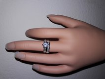 Silver plated CZ wedding band and engagement ring in Lake Elsinore, California