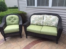 Wicker Patio Furniture Love Seat and Chair Both in Naperville, Illinois