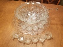 Vintage punch bowl with tray,cups and ladle in Westmont, Illinois