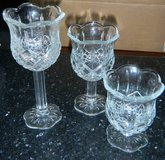 Home Interiors Stemmed Crystal Glass Trio Homco Diamond Cut Candle Holders Set in Kingwood, Texas