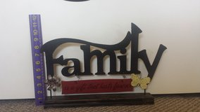 """New!  Metal """"Family"""" Sign on Wooden Stand in Chicago, Illinois"""