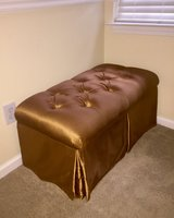 Gold Fabric Bench w/ STORAGE! (BR) in Wilmington, North Carolina