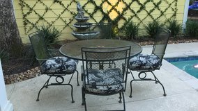 Wrought Iron Patio Set with Cushions in Kingwood, Texas