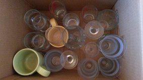 Box of glasses and mugs in Ramstein, Germany