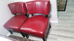 Red Leather Chairs in Conroe, Texas