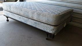 Full mattress with box spring and metal frame in El Paso, Texas