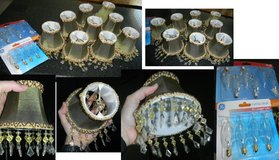 9 Silk Fabric Beaded Clip-On Chandelier Lamp Shades Set Bell Shaped Sage Green / Tan / Bronze Beads in Kingwood, Texas