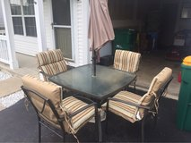 6pc patio Set with umbrella and new cushions in Naperville, Illinois