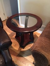 End table with glass, dark wood in Naperville, Illinois