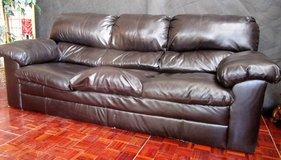 Black Leather 3 Seater Couch in Ramstein, Germany