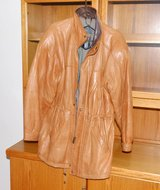 MENS saddle brown leather jacket with zipper. in Naperville, Illinois