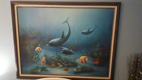 Dolphin picture on canvas--excellent condition in Belleville, Illinois