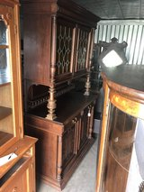 Antique Oak Buffet w/ Stain Glass Doors 1800's in Cherry Point, North Carolina