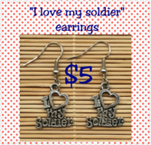 """I love my soldier"" earrings in Fort Benning, Georgia"
